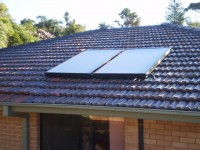 Solar hot water panels mounted on the roof.