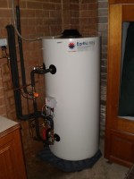 Solar hot water system storage tank.