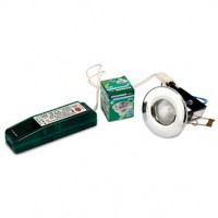 A low-voltage halogen downlight kit - transformer, fitting and lamp.