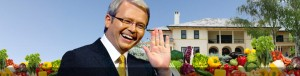 Kevin Rudd would be this happy all the time if he had a vegie patch!