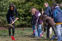 The Obama family turning the first sod on their new kitchen garden.