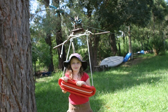 The backyard flying fox (zip line)