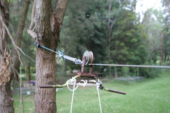 Home made zip line pulley