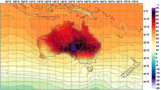 Temperature Map Of Australia