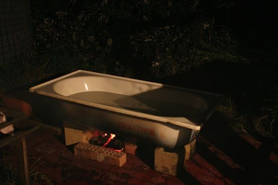 Wood Fired Outdoor Bathtub Prototype